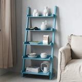 Latitude Run® Rustic Ladder Shelf, 5-Tier Leaning Bookcase, Rack Storage Shelves, Wooden Display Ladder Shelves For Living Room, Balcony in Blue