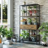 17 Stories 6-Tier Rustic Bookshelf, Etagere Bookcase w/ 2 Drawers, Standing Bookshelf w/ Storage, Industrial Storage Shelf For Living Room, Study