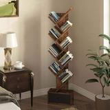Latitude Run® Tree Bookshelf w/ Drawer, 8 Shelf Rustic Bookcase, Retro Wood Storage Rack For Cds/Movies/Books in Brown | Wayfair