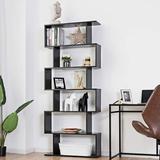 Latitude Run® 6 Shelf Bookcase, Modern S-Shaped Z-Shelf Style Bookshelf, Multifunctional Wooden Storage Display Stand Shelf For Living Room | Wayfair
