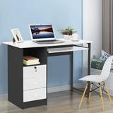 Latitude Run® Computer Desk Laptop Study Table Workstation Home Office Furniture W/Drawer Wood/Metal in Black, Size 29.6 H x 39.5 W x 19.7 D in