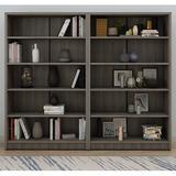Latitude Run® Bookcase Wood Storage Bookshelf Open Shelf Bookcase Closed Back Shelves Book Case (5-Tier, Grey) Wood in Gray | Wayfair
