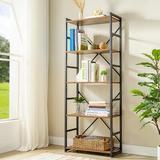 17 Stories Industrial Bookshelf, Wood Bookcases & Book Shelves 5 Shelf w/ Metal Frames & Rustic Wood, Office Storage Shelves Vintage Book Shelf Unit