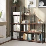 Latitude Run® Hasuit Ladder Corner Bookshelf, 12 Shelves Bookcase, 5-Tier Stepped Bookcase in Brown, Size 52.0 H x 49.3 W x 11.8 D in | Wayfair