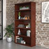 "Red Barrel Studio® Emmett Affirm 5-Shelf Bookcase, L: 34.80"" X W: 11.34"" X H: 65.98"", Classic Cherry Finish Wood in Brown | Wayfair"