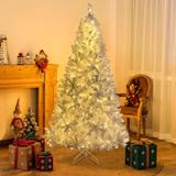 The Holiday Aisle® 7.4 Ft Artificial Christmas Tree White Hinged Spruce Full Tree w/ 500 LED Lights, PVC Branch in White/Yellow | Wayfair