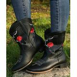 YASIRUN Women's Western Boots Black - Black & Red Floral Embroidered Cowboy Boot - Women