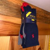 Polo By Ralph Lauren Underwear & Socks | New Polo Ralph Lauren Crew Socks Navy Blue W Red & Gray 3 Pack 3pk Nwt | Color: Blue/Red | Size: L