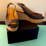 Coach Shoes | Coach Sling Back Peep Toe Platform Wedges | Color: Black/Tan | Size: 7.5