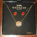 Coach Jewelry   Coach Womens Necklace & Earring Set   Color: Orange   Size: All
