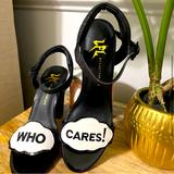 Urban Outfitters Shoes | Chunky Who Cares High Pumps Shoes Black Glitter | Color: Black | Size: 6.5