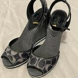 Coach Shoes | Coach Blue And Gray Canvas Wedge Sandals Size 7 | Color: Blue/Gray | Size: 7