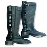 Jessica Simpson Shoes | Jessica Simpson Ellister Black Leather Knee Boot Moto Studded Riding Boot Size 5 | Color: Black | Size: 5