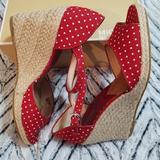 Michael Kors Shoes | Michael Kors Peep Toe Wedge | Color: Red/White | Size: 11