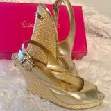 Lilly Pulitzer Shoes   Lilly Pulitzer Kristin Slingback Wedge Heels Sz8.5   Color: Gold   Size: 8.5