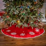 Gerson International Snowflake Tree Skirt Velvet in Red, Size 2.0 H x 48.0 W in | Wayfair 2506470EC