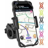 Pioneer Premium Bike & Motorcycle Phone Mount, Bike Phone Mount Holder, Cycling GPS Units, 6 Colors Included, Universal Bike Phone Holder in Black