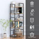 17 Stories 5 Floors Of Bookshelves, Wood Bookcase w/ Metal Frame Industrial Storage Rack Storage Rack, Adjustable Bookcase in Brown   Wayfair