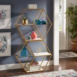 Everly Quinn Clotene Hexagon Wood & Glass 4-Shelf Modular Bookcase in Brown/White/Yellow, Size 64.2 H x 37.0 W x 13.1 D in | Wayfair