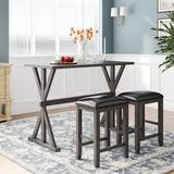 Rosalind Wheeler Dining Set 3-Piece Counter Height Wood Kitchen Multifunctionaltable w/ 2 Stools For Small Places in Gray, Size 36.0 H in   Wayfair