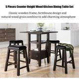 Red Barrel Studio® 5 Pieces Counter Height Wood Kitchen Dining Table Set w/ 4 Upholstered Stools w/ Storage Cupboard & Shelf Wood/Upholstered Chairs