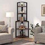 Latitude Run® Corner Shelf, 5 Tier Corner Bookshelves Freestanding Small Bookcase, 60 Inch Tall Corner Ladder Shelf in Brown   Wayfair