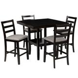 Red Barrel Studio® 5-Piece Wooden Counter Height Dining Set w/ Padded Chairs & Storage Shelving, Rubber Wood Frame,Espresso Wood in Brown | Wayfair