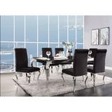Cozzy Design Fleming 6 - Person Dining Set Wood/Glass/Metal/Upholstered Chairs in Black/Brown/Gray, Size 30.0 H in | Wayfair ACODTAO6702-SSBS7SANW