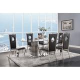 Cozzy Design Cruz 6 - Person Dining Set Wood/Glass/Metal/Upholstered Chairs in Black/Brown/Gray, Size 30.0 H in | Wayfair ACODTAO6758-SSGS7SANW