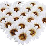 Primrue 24Pcs Artificial Silk Sunflower Heads Faux Sunflowers Artificial Flowers Bouquet Silk Sunflower Decoration For Kitchen Wedding Birthday Outside Silk