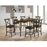 Rosalind Wheeler Hargreaves 7-pcs Counter Height Table Set Wood/Metal/Upholstered Chairs in Brown/Gray, Size 36.0 H in | Wayfair