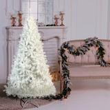 The Holiday Aisle® Holiday Christmas Pine Tree White Hinged Spruce Full Tree, w/ 500 LED Lights, PVC Branch. in White/Yellow | Wayfair