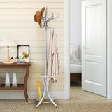 Red Barrel Studio® Wood Standing Hat Coat Rack w/ Umbrella Stand Wood in Gray, Size 72.0 H x 28.0 W x 28.0 D in | Wayfair