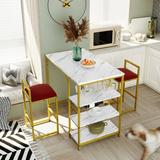Latitude Run® TOPMAX Counter Height 3-Piece Bar Dining Table Set w/ 2 Upholstered Bar Stools/Chairs in White/Yellow, Size 35.0 H in | Wayfair