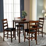Red Barrel Studio® Square Counter Height Wooden Kitchen Dining Set, Dining Room Set w/ Table & 4 Chairs (Grey) Wood in Brown, Size 35.8 H in Wayfair