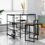 Latitude Run® TOPMAX Counter Height 3-Piece Bar Dining Table Set w/ 2 Upholstered Bar Stools/Chairs in Black, Size 35.0 H in | Wayfair