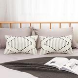 Dakota Fields Outdoor Throw Pillow Covers - Set Of 2 Modern Cotton Woven Decorative Pillow Cases Microfiber/Cotton in White   Wayfair