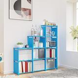 Rebrilliant 9-Cube Storage Organizer, DIY Adjustable Bookcase, Bookshelf w/ 9 Book Shelves, Home Furniture Storage in Blue | Wayfair