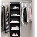 Rebrilliant 5-Shelf Hanging Closet Organizer - 6 Side Mesh Pockets Breathable Polypropylene Hanging Shelves - For Clothes Storage & Accessories