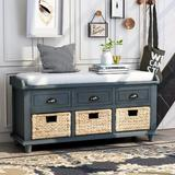 Rosecliff Heights TREXM Rustic Storage Bench w/ 3 Drawers & 3 Rattan Baskets, Shoe Bench For Living Room, Entryway (White) Manufactured Wood in Blue