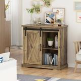 """Gracie Oaks 32"""" Farmhouse Sliding Barn Door Wood Accent Chest Home Coffee Station Buffet Storage Cabinet in Brown, Size 31.5 H x 31.9 W x 15.7 D in"""
