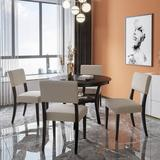 Red Barrel Studio® 5-Piece Kitchen Dining Table Set Round Table w/ Bottom Shelf, 4 Upholstered Chairs For Dining Room in Gray, Size 30.0 H in