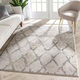Well Woven Lisbon Cecil Moroccan Lattice Trellis Ivory Area Rug Polypropylene in White, Size 87.0 H x 63.0 W x 0.6 D in | Wayfair LIS-102-5