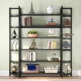 Latitude Run® Triple Wide 6-Shelf Bookshelves, 6-Tier Etagere Bookcase Bookshelves Storage & Double Bookshelf Display Shelves in Black | Wayfair