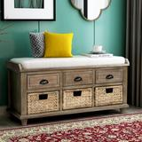 Rosecliff Heights TREXM Rustic Storage Bench w/ 3 Drawers & 3 Rattan Baskets, Shoe Bench For Living Room, Entryway () Manufactured Wood in White