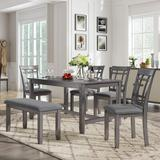 Rosalind Wheeler 6 Piece Wooden Dining Table Set, Kitchen Table Set w/ 4 Chairs & Bench, Farmhouse Rustic Style,Antique Graywash Wood in Brown/Gray