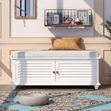 Rosecliff Heights TREXM Storage Bench w/ Removable Cushion, Louver Design Wooden Shoe Bench For Entryway Living Room Bedroom (Navy Blue) in White