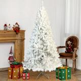 """The Holiday Aisle® 7'4"""" H White Spruce Christmas Tree w/ 500 LED Lights in White/Yellow, Size 88.6 H x 45.3 W in 