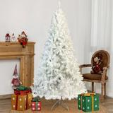 The Holiday Aisle® 7.4Ft Artificial Pine Christmas Tree w/ Lights in White/Yellow, Size 88.6 H x 45.3 W in | Wayfair
