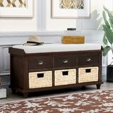 Rosecliff Heights TREXM Rustic Storage Bench w/ 3 Drawers & 3 Rattan Baskets, Shoe Bench For Living Room, Entryway (White) Manufactured Wood in Brown